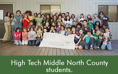 Hight Tech Middle North County Students give donation to the Temwani Children's Foundation.